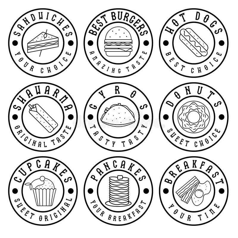 винтажные ярлыки еды иллюстрация вектора