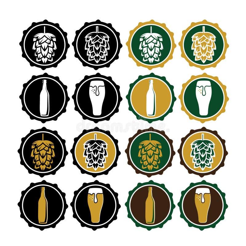 винтажные ярлыки крышки пива иллюстрация вектора