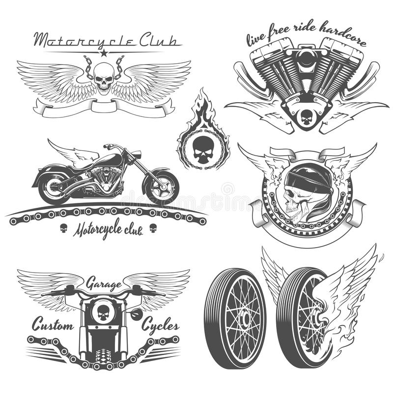 Винтажные ярлыки мотоцикла бесплатная иллюстрация