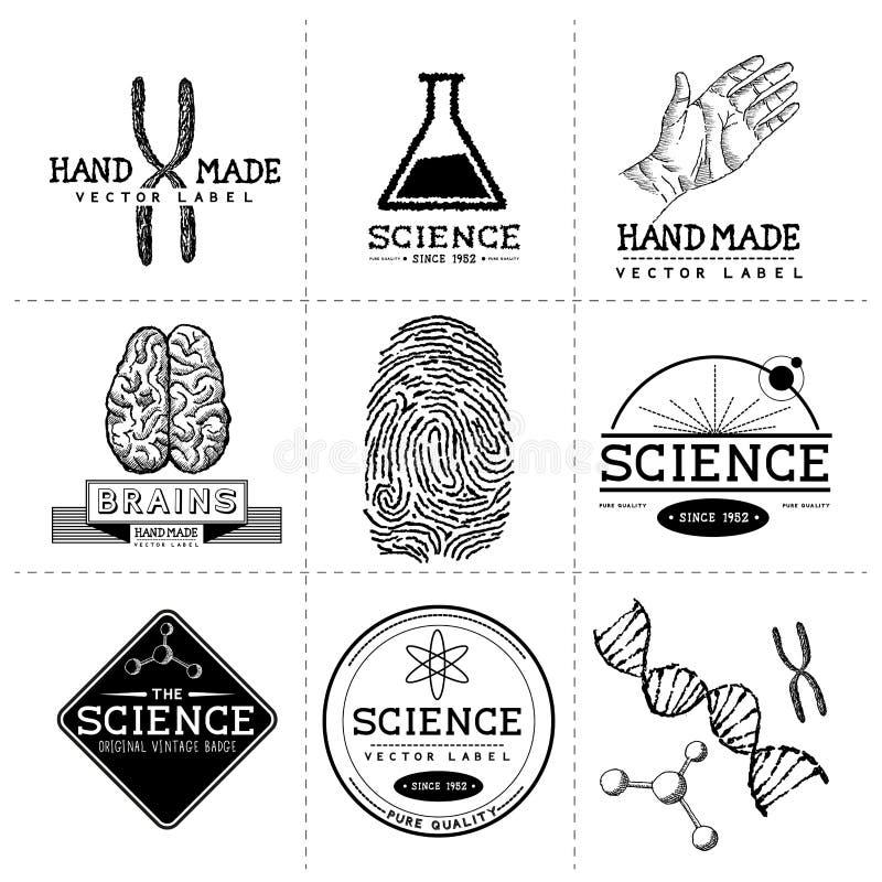 Винтажные ярлыки науки бесплатная иллюстрация