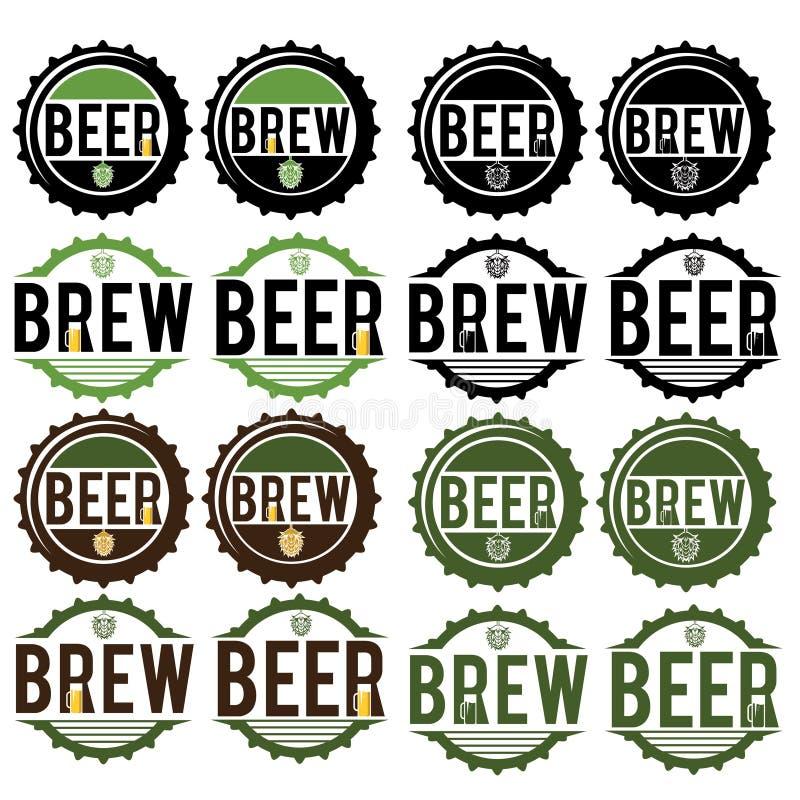 Винтажные ярлыки пива иллюстрация штока
