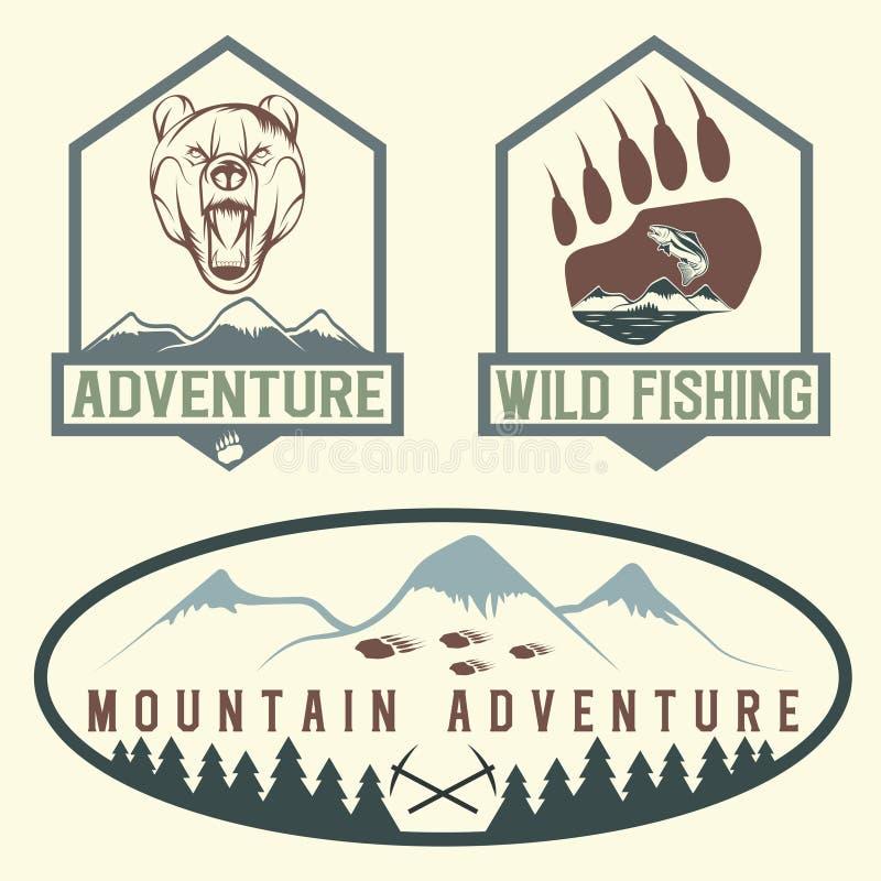 винтажные ярлыки приключения с медведем, семгами и горами иллюстрация штока