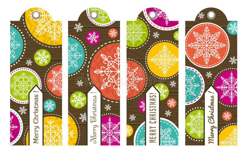 Винтажные ярлыки рождества с текстом, вектором иллюстрация вектора