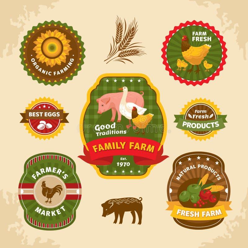 Винтажные ярлыки фермы иллюстрация вектора