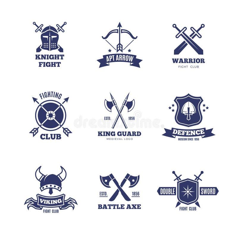 Винтажные ярлыки шпаги и экрана ратника Значки вектора рыцаря Логотипы герба геральдики бесплатная иллюстрация