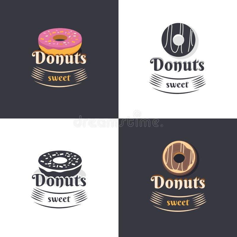 Винтажные donuts логотипов иллюстрация вектора