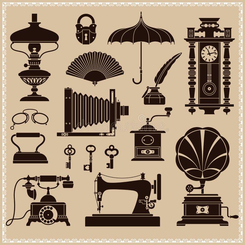 Винтажные Ephemera и объекты старой эры иллюстрация вектора