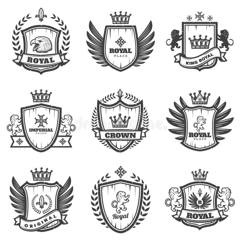 Винтажные Monochrome Heraldic установленные эмблемы иллюстрация штока