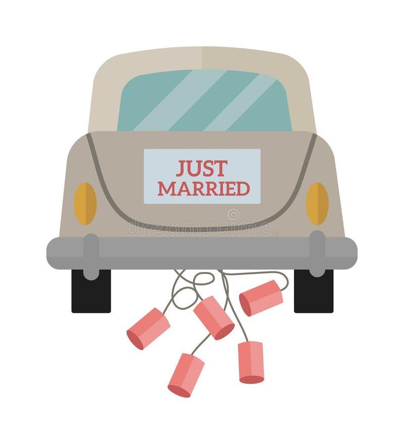 Винтажный автомобиль свадьбы с как раз пожененным знаком и чонсервные банкы прикрепили плоскую иллюстрацию вектора бесплатная иллюстрация
