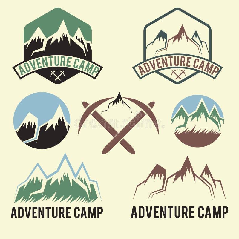 Винтажный лагерь приключения ярлыков бесплатная иллюстрация