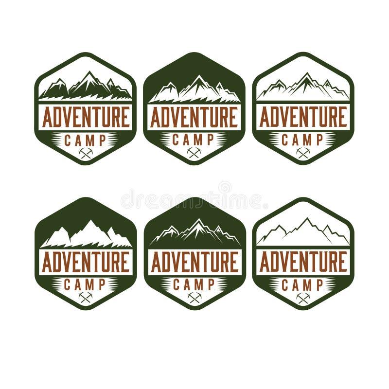 Винтажный лагерь приключения ярлыков иллюстрация штока