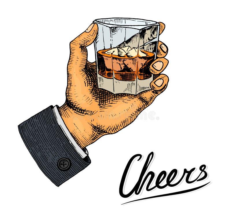 Винтажный американский значок вискиа Спиртной ярлык с каллиграфическими элементами Классическая рамка для знамени плаката Стекло  иллюстрация вектора