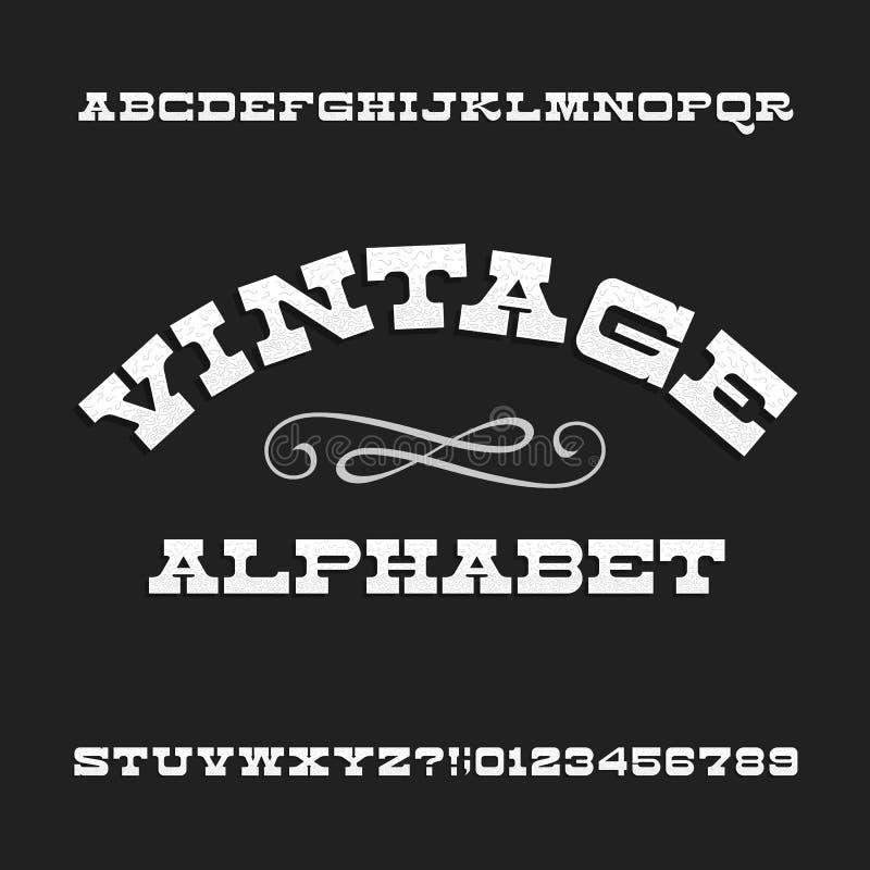 Винтажный алфавит Ретро письма и номера serif сляба Западный шрифт бесплатная иллюстрация