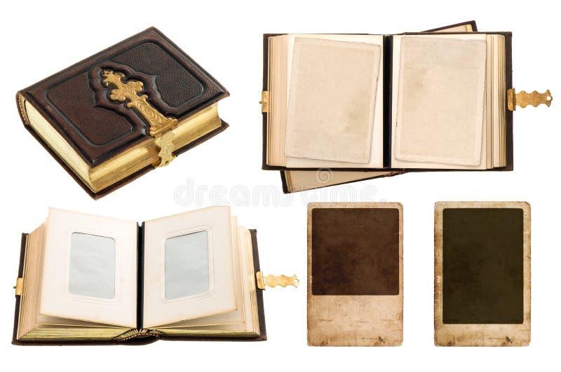 Винтажный альбом с ретро карточками фото стоковые фото