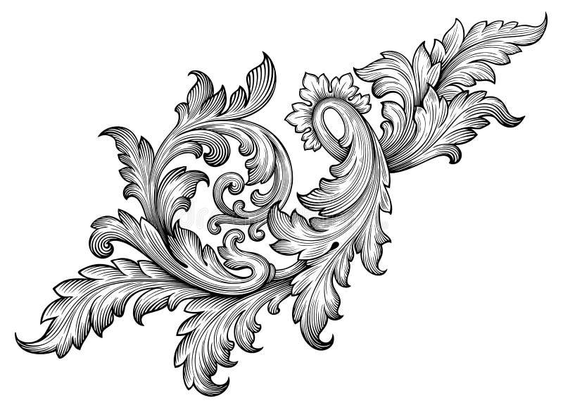 Винтажный барочный вектор орнамента переченя рамки иллюстрация штока
