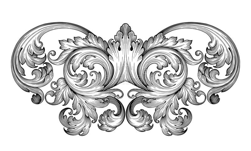 Винтажный барочный вектор орнамента переченя рамки иллюстрация вектора