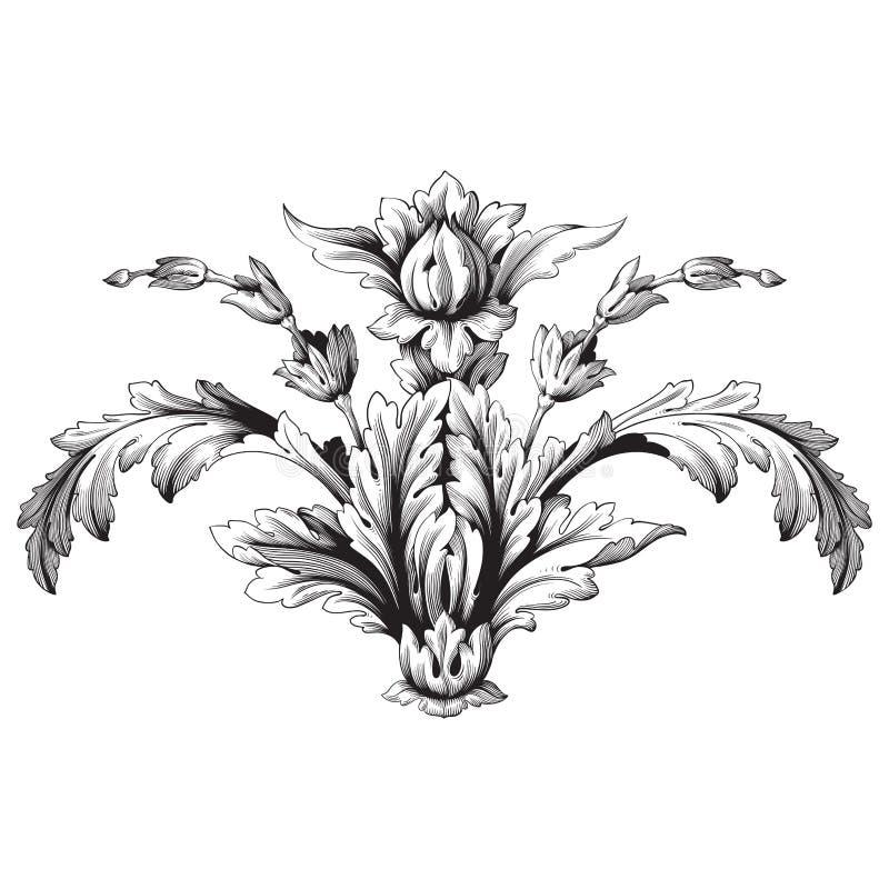 Винтажный барочный орнамент переченя рамки иллюстрация вектора
