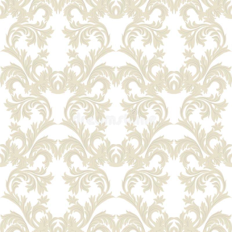 Винтажный барочный флористический вектор картины штофа Роскошный классический орнамент иллюстрация штока