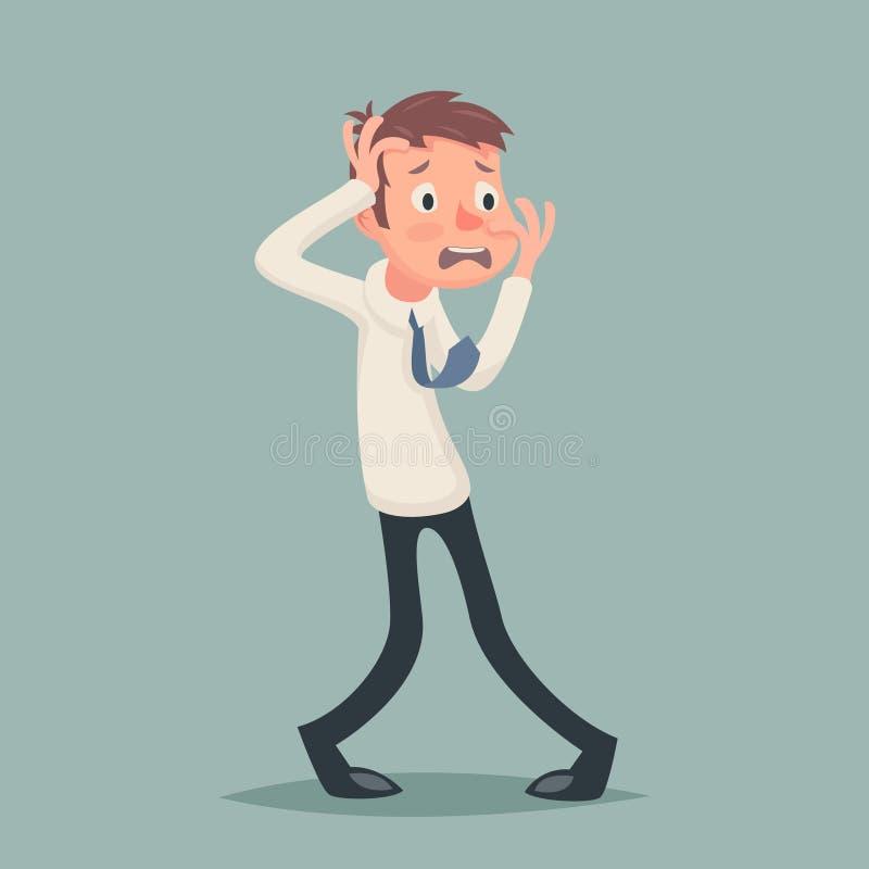 Винтажный бизнесмен страдает значок характера стресса депрессии ужаса страха эмоции на шарже стильной предпосылки ретро бесплатная иллюстрация