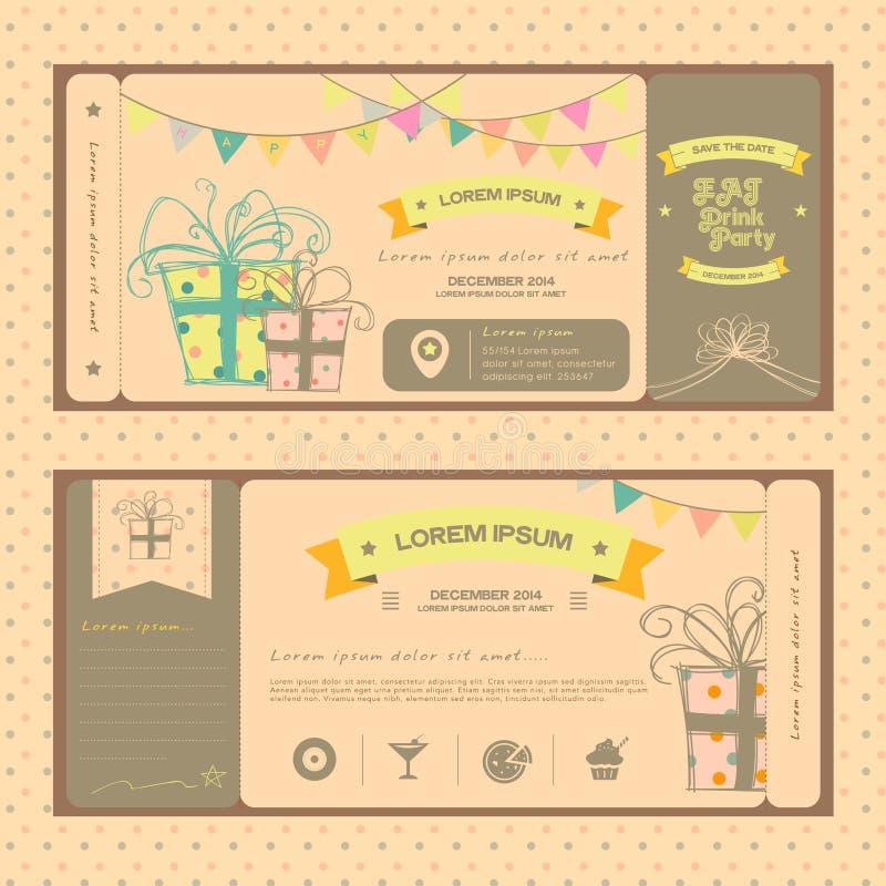 Винтажный билет для вечеринки по случаю дня рождения или другого равенства потехи иллюстрация штока