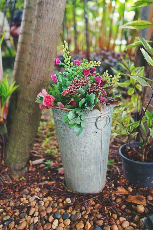 Винтажный букет розовых цветков в баке металла стоковое изображение rf