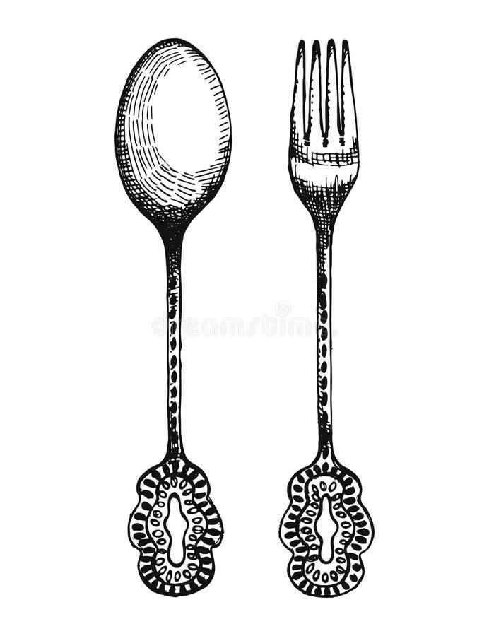 Винтажный вектор вилки и ложки Иллюстрация чертежа руки столового прибора иллюстрация вектора