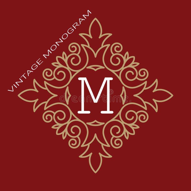 Винтажный вензель вектора Элегантный логотип эмблемы для ресторанов, гостиниц, баров и бутиков Рамка искусства бесплатная иллюстрация