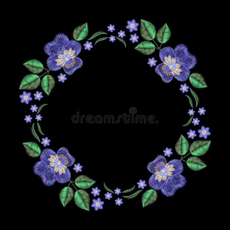 Винтажный венок вышивки с фиолетом, забывает меня не Вектор fas бесплатная иллюстрация
