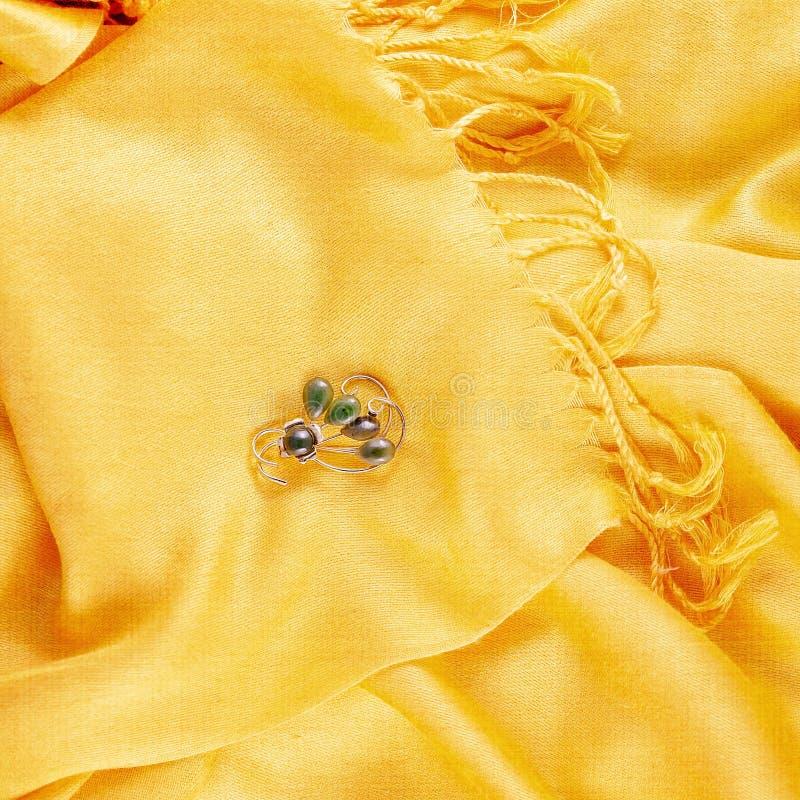 Винтажный вертел нефрита на шарфе стоковое фото