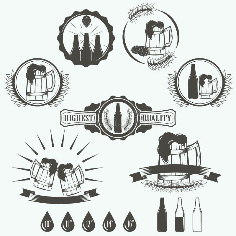 Винтажный винзавод пива emblems, ярлыки иллюстрация штока