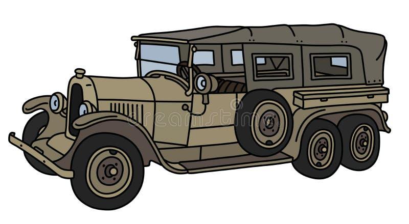 Винтажный воинский длинный автомобиль иллюстрация вектора