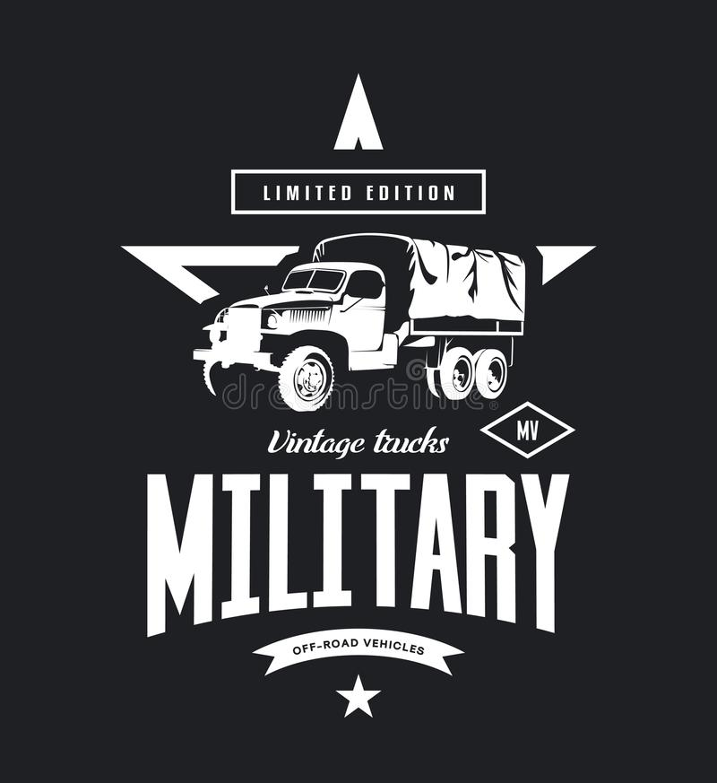 Винтажный воинский логотип вектора тележки изолированный на темной предпосылке иллюстрация штока
