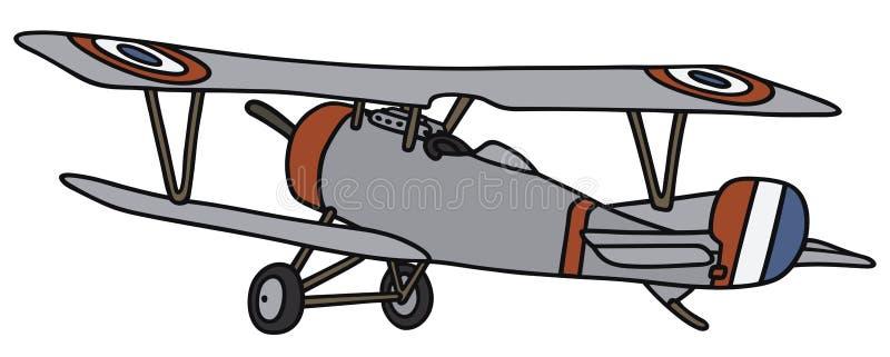 Винтажный воинский самолет-биплан бесплатная иллюстрация