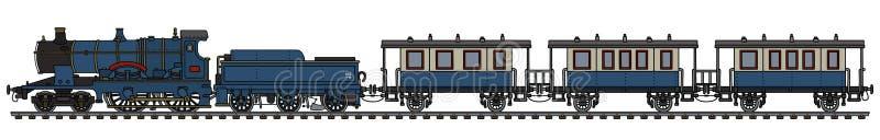 Винтажный голубой поезд пара иллюстрация штока