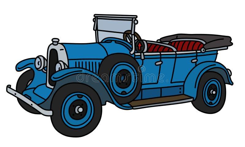 Винтажный голубой cabriolet иллюстрация вектора
