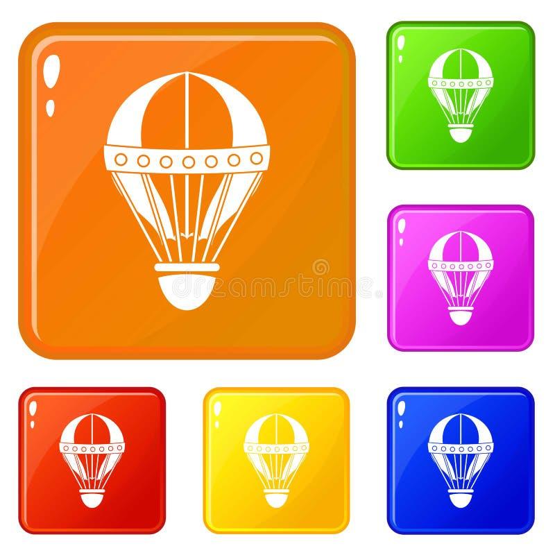 Винтажный горячий цвет вектора значков воздушного шара установленный иллюстрация вектора