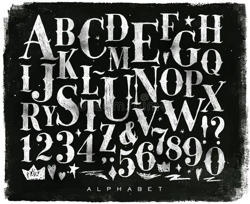Винтажный готический мел алфавита иллюстрация вектора