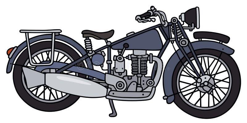 Винтажный голубой мотоцикл иллюстрация вектора
