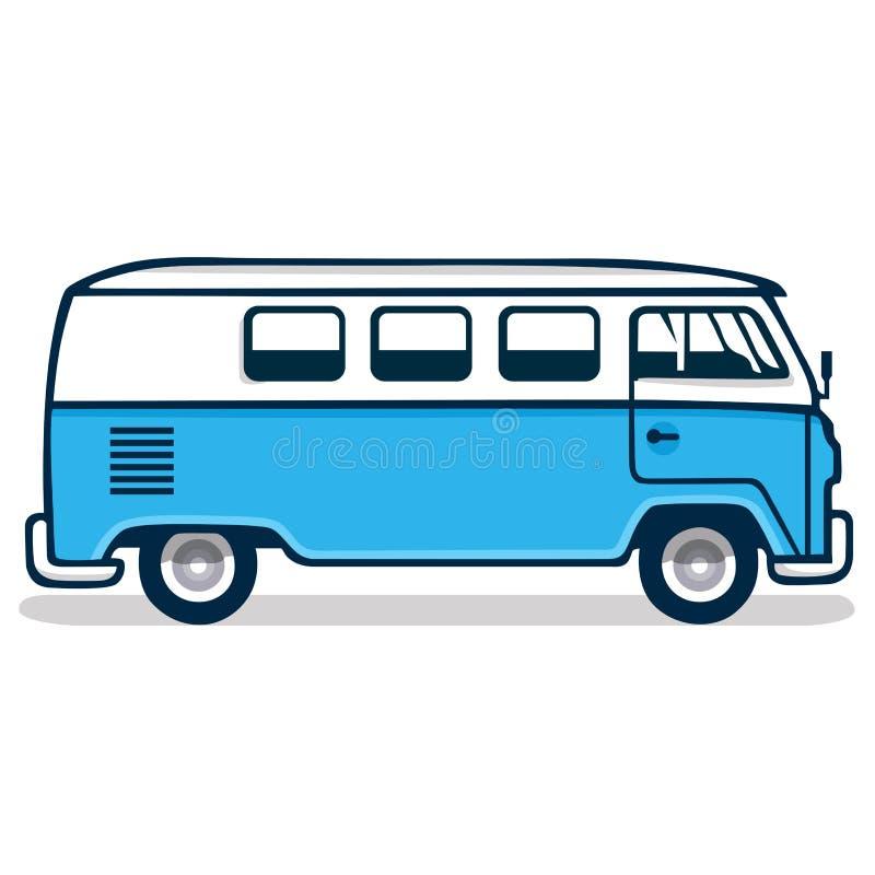 Винтажный голубой фургон иллюстрация вектора