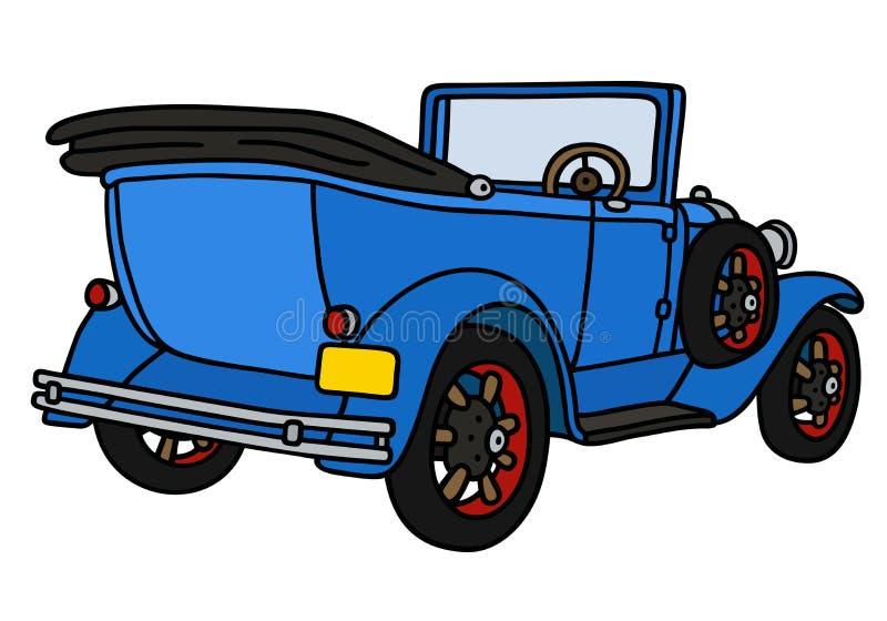Винтажный голубой cabriolet иллюстрация штока
