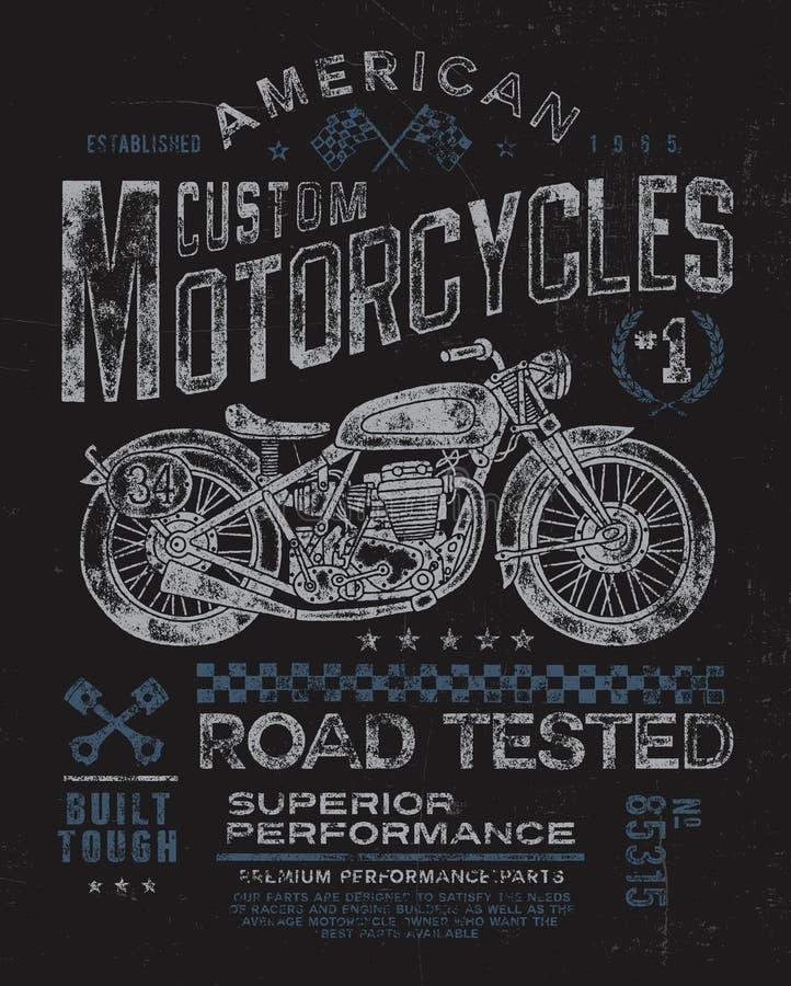 Винтажный график футболки мотоцикла иллюстрация вектора