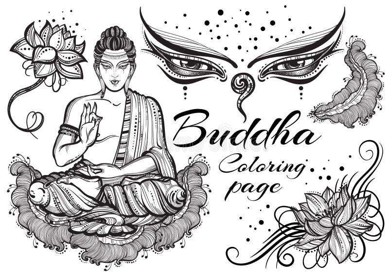 Винтажный графический Будда установил с буддийскими священными элементами Религиозная концепция Высококачественное изолированное  иллюстрация вектора