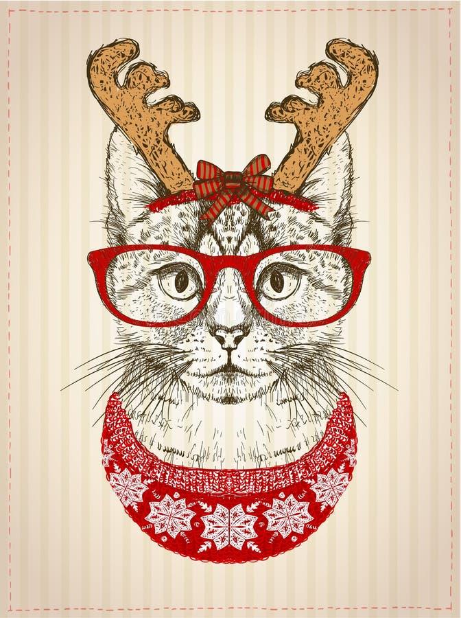 Винтажный графический плакат с котом битника при красные стекла, одетые в шляпе и красном цвете рожков оленей связал свитер иллюстрация штока
