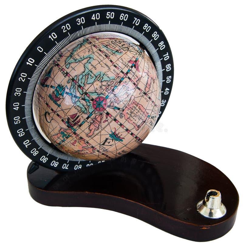 Винтажный глобус изолированный на белизне стоковая фотография rf