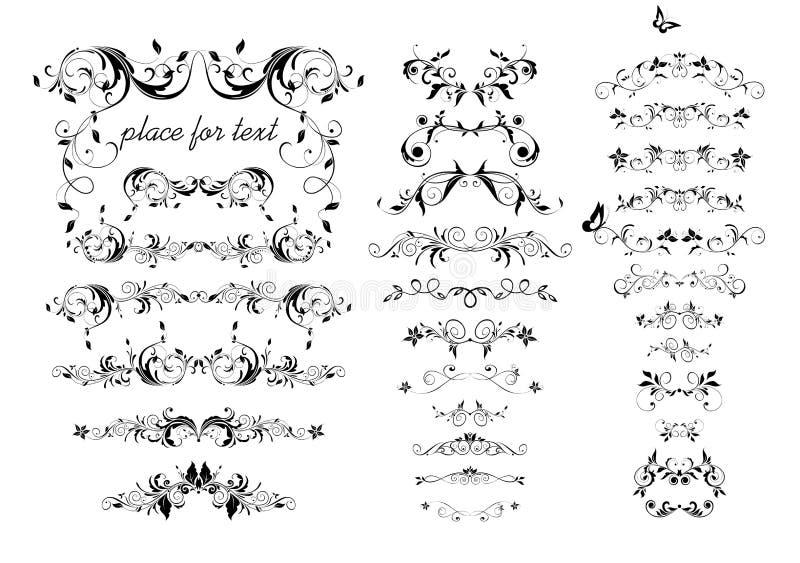 Винтажный декоративный флористический свод, границы, заголовки и собрание названий Черно-белый дизайн для приглашения свадьбы, гр иллюстрация штока