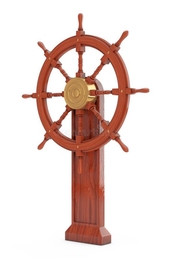 Винтажный деревянный руль корабля со стойкой перевод 3d иллюстрация штока