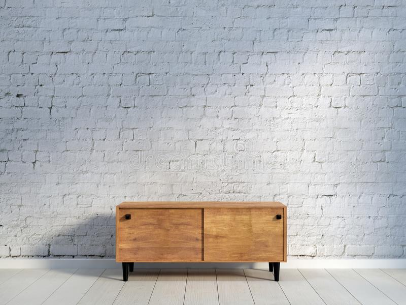 Винтажный деревянный commode на кирпичной стене бесплатная иллюстрация
