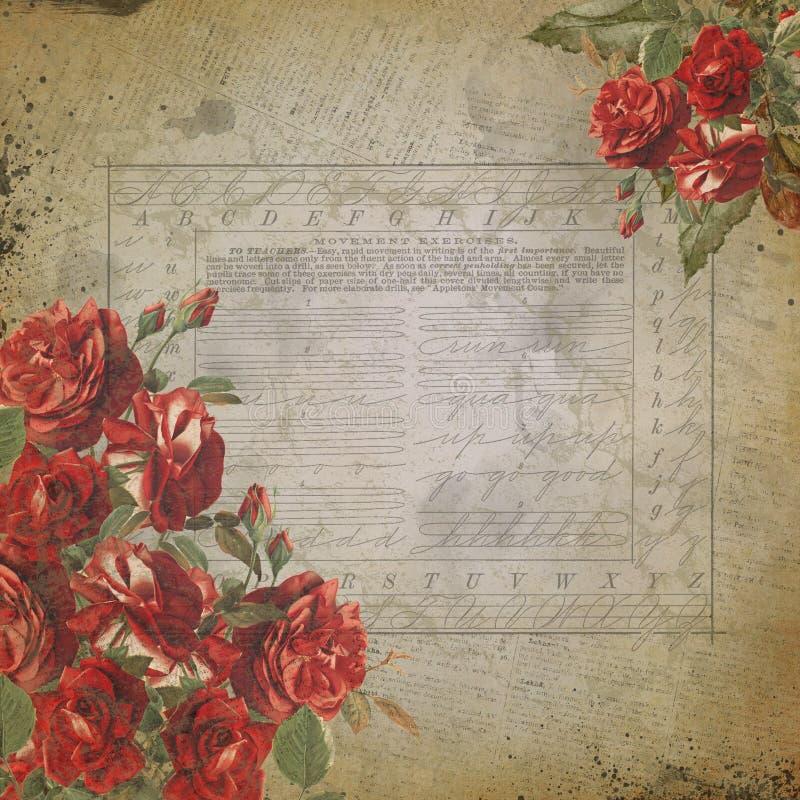 Винтажный дизайн бумаги предпосылки коллажа почерка - авторучки - почерк - чернила - каллиграфия иллюстрация вектора