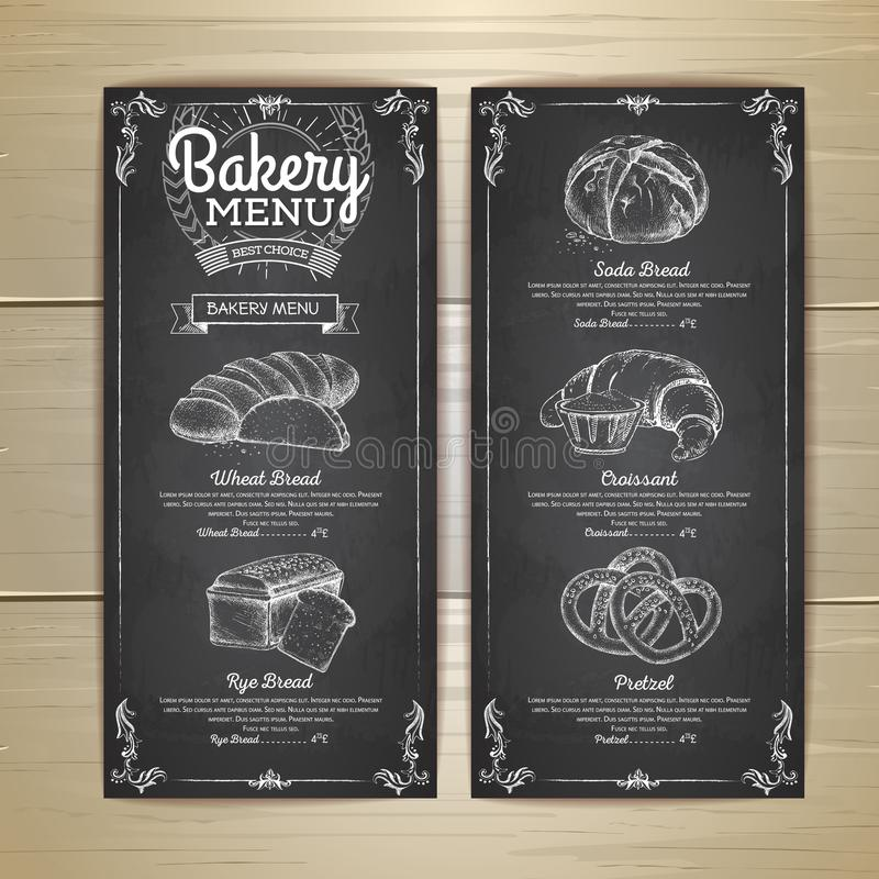 Винтажный дизайн меню хлебопекарни чертежа мела иллюстрация вектора