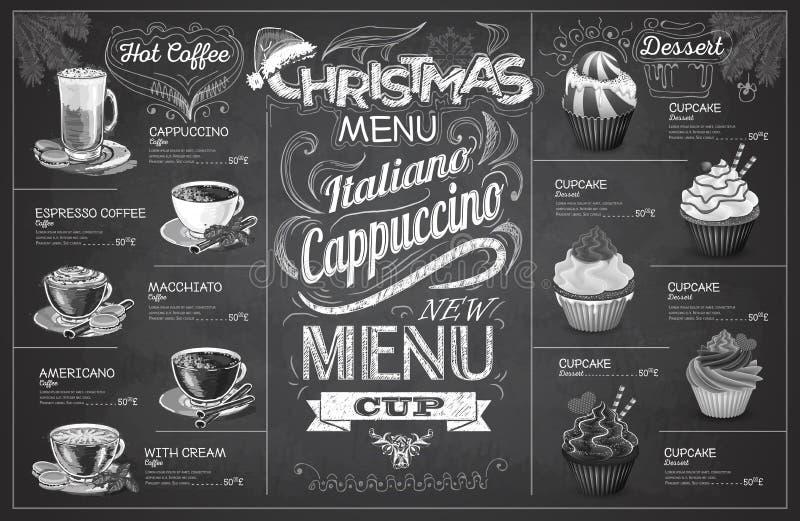 Винтажный дизайн меню coffe рождества чертежа мела Ресторан я иллюстрация штока